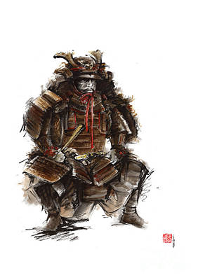 Ink Painting - Japanese Warrior Armor. by Mariusz Szmerdt