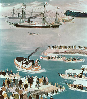 Docks And Boat Painting - Japans First Foreign Mission, Headed By Prince Iwakura by Unknown