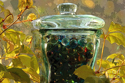 Marbles Photograph - Jar Amongst The Ivy by Alison Gunn