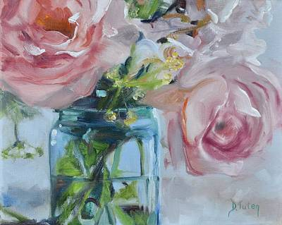Bouquets Of Pink Flowers Green Blue Painting - Jar Of Pink by Donna Tuten