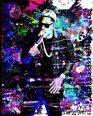 Rapper Painting - Jay Z Original Painting Art Print by Ryan Rock Artist