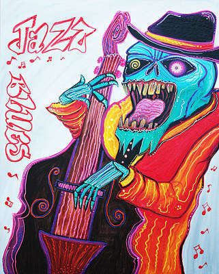 Skull Painting - Jazz And Blues by Laura Barbosa