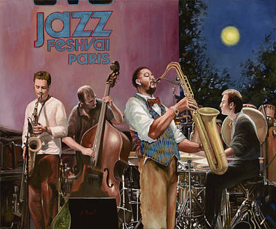 Sax Painting - jazz festival in Paris by Guido Borelli