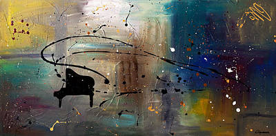 Trombone Painting - Jazz Night by Carmen Guedez