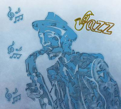 Ragtime Digital Art - Jazz Saxophone by Dan Sproul