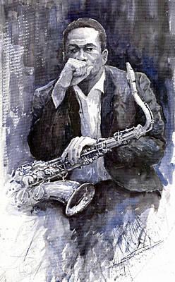 Jazz Saxophonist John Coltrane Black Print by Yuriy  Shevchuk