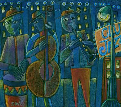 Crowd Scene Mixed Media - Jazz Time At Club Jazz by Gerry High