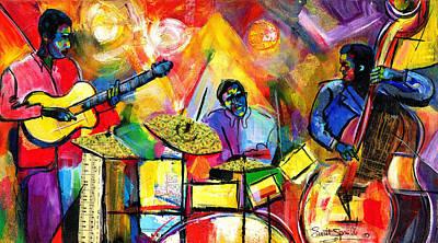 Harlem Mixed Media - Jazz Trio by Everett Spruill