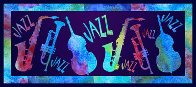 Trumpet Mixed Media - Jazzy Combo by Jenny Armitage