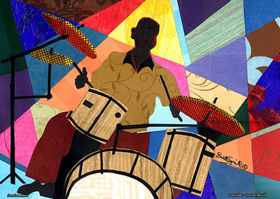 Jacob Lawrence Mixed Media - Jazzy Drummer by Everett Spruill