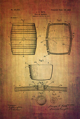 Booze Mixed Media - J.c.roth Beer Keg Patent From 1898 by Eti Reid