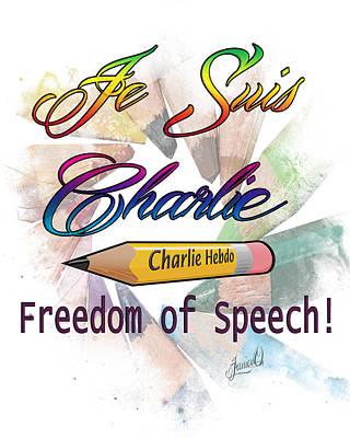 Free Speech Digital Art - Je Suis Charlie by Janice OConnor