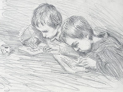 Desk Drawing - Jean Pierre Hoschede And Michel Monet by Claude Monet