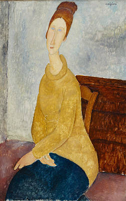 Jeanne Hebuterne With Yellow Sweater Print by Celestial Images