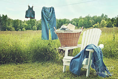 Jeans Hanging On Clothesline On A Summer Afternoon Print by Sandra Cunningham