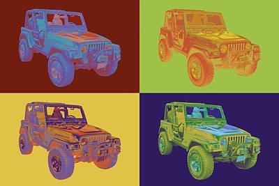 Cross Digital Art Digital Art - Jeep Wrangler Rubicon Pop Art by Keith Webber Jr