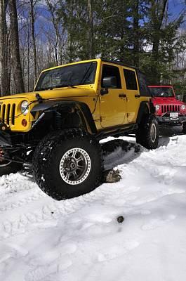 Jeeps On Snow Print by J Scott Davidson