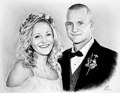 Wedding Dress Drawing - Jeff And Anna by Andrew Read
