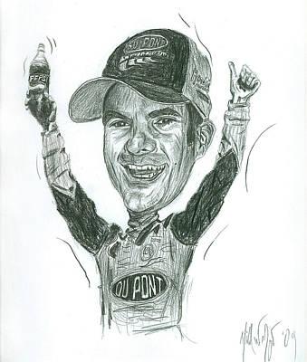 Jeff Gordon Caricature Print by Michael Morgan