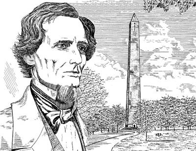 Historic Site Drawing - Jefferson Davis Monument by Robert A Powell