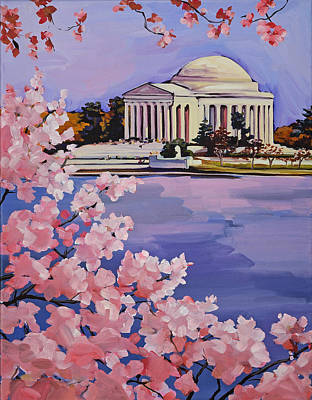 Jefferson Memorial Painting - Jefferson Memorial At Cherry Blossom Time by Anne Lewis