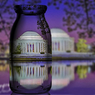 Washington D.c Digital Art - Jefferson Memorial In A Bottle by Susan Candelario