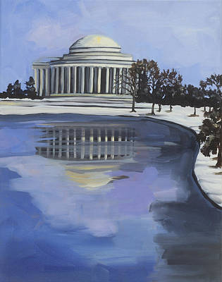 Jefferson Memorial Painting - Jefferson Memorial In Winter by Anne Lewis