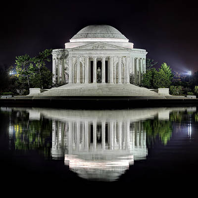 Alone Photograph - Jefferson Memorial - Night Reflection by Metro DC Photography