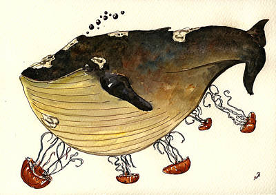 Jellyfish Tickling A Whale Print by Juan  Bosco