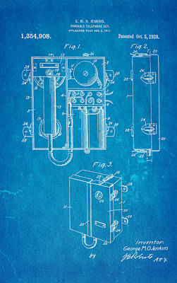 Jenkins Portable Telephone Patent Art 1920 Blueprint Print by Ian Monk