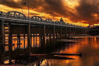 Jenks Bridge At Sunset Print by Tim Hayes