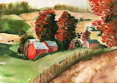Black Angus Painting - Jenne Farm by Sharon Mick