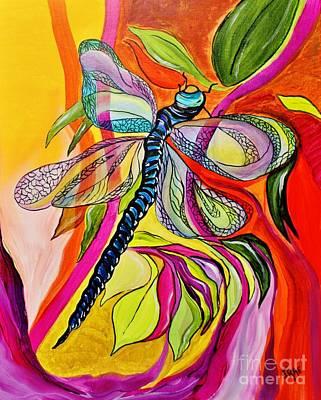 Jenny's Dragonfly In Acrylic Original by Janice Rae Pariza