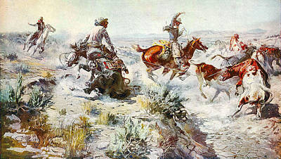 Working Cowboy Digital Art - Jerked Down by Charles Russell