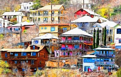 Jerome Arizona Hillside Houses Print by Clare VanderVeen