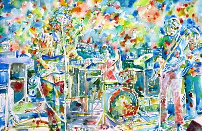 Grateful Dead Painting - Jerry Garcia And The Grateful Dead Live Concert - Watercolor Portrait by Fabrizio Cassetta