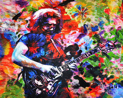 Jerry Garcia - Grateful Dead - Original Painting Print Print by Ryan Rock Artist
