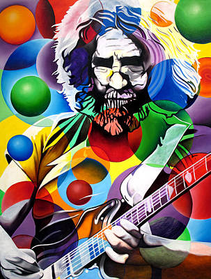 Grateful Dead Painting - Jerry Garcia In Bubbles by Joshua Morton
