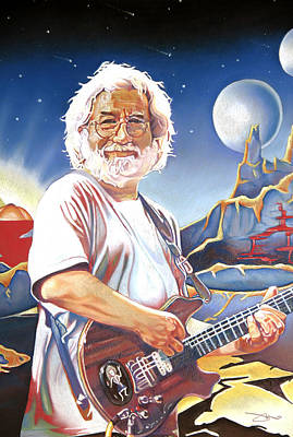 Singer Drawing - Jerry Garcia Live At The Mars Hotel by Joshua Morton