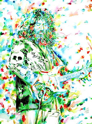 Jerry Garcia Painting - Jerry Garcia Playing Live - Watercolor Portrait by Fabrizio Cassetta