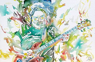 Grateful Dead Painting - Jerry Garcia Playing The Guitar Watercolor Portrait.1 by Fabrizio Cassetta