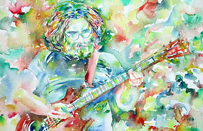 Grateful Dead Painting - Jerry Garcia Playing The Guitar Watercolor Portrait.3 by Fabrizio Cassetta