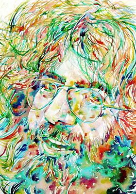Grateful Dead Painting - Jerry Garcia Watercolor Portrait.1 by Fabrizio Cassetta