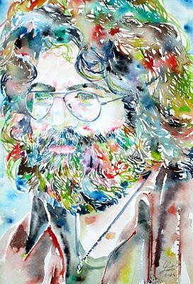 Grateful Dead Painting - Jerry Garcia Watercolor Portrait.2 by Fabrizio Cassetta