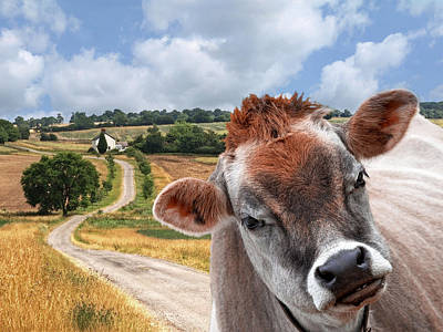 Jersey Cow - Welcome To The Funny Farm Print by Gill Billington