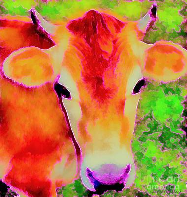 Jersey Girl - Cow - Hot Pink Pop Art   Print by Janine Riley