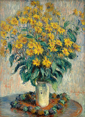 In Bloom Painting - Jerusalem Artichoke Flowers by Claude Monet