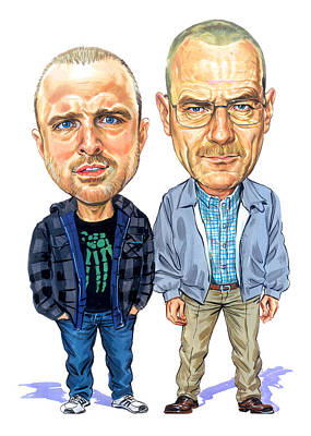 Caricatures Painting - Jesse Pinkman And Walter White by Art