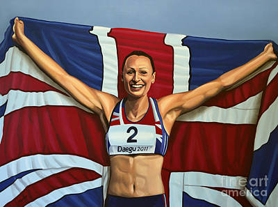 Acrylic Sports Painting - Jessica Ennis by Paul Meijering