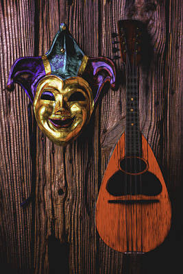 Jester Mask And Mandolin Print by Garry Gay